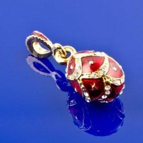 Red Enameled Faberge Pendant