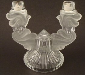 Crystal & Frosted Glass Candle Holder Candelabra