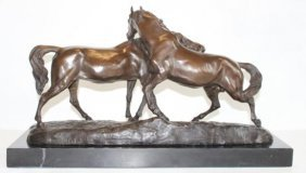 Huge Bronze Sculpture Horse Play