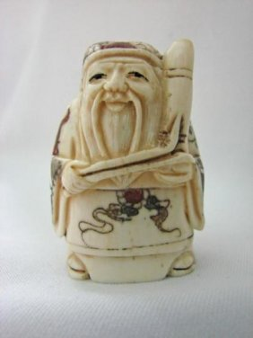 Japanese Ox-Bone Hand Carved Figure