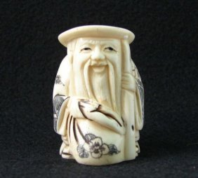 MWF1542C Handcarved Ox Bone Netsuke Figure
