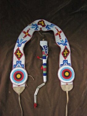 MWF333 Native American Beaded Belt Beaded Awl Bag