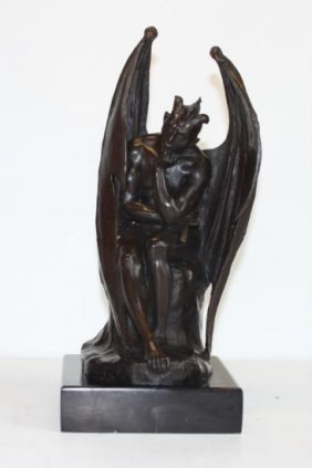 Majestic Bronze Sculpture Gargoyle - Lucifer