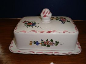 French Hand Painted Earthenware Butter Dish Signed