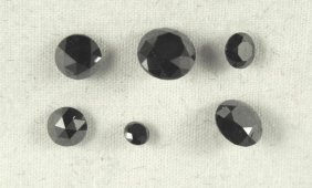 Six Loose Black Diamonds Totaling 3.86 Carats