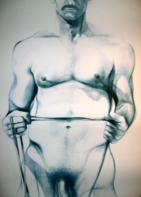 Lowell Nesbitt Signed Art Print Litho 1979 Gay Nude 1
