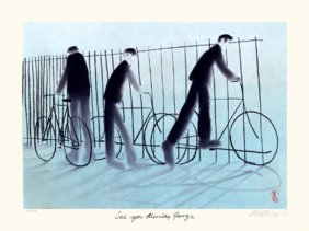 Mackenzie Thorpe 'SEE YOU MONDAY GEORGE' Lithograph