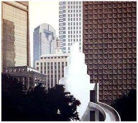 Richard Haas -Dallas Skyline Lithograph Texas Art Print