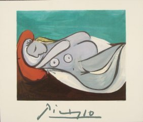Pablo Picasso : Woman Reclining Modern Art Print