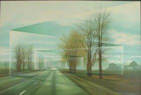 Frank Licsko ROADS Signed Surreal Landscape Art Print