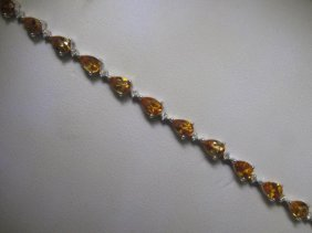7.80 CT Citrine And .31 CT Diamonds 14K WG Bracelet