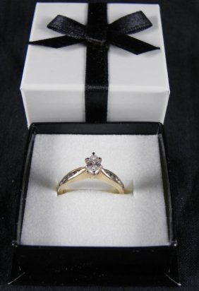 Vintage Marquis Cut 14K Yellow Gold Diamond Ring