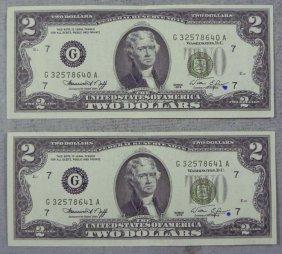 2 CU 1976 Consec #$2 Bills G Mint - Ink Mark