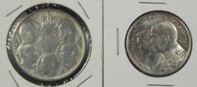 2 UNC Greek Commem Silver Coins Wedding Crown 5 Kings