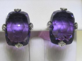 27.61 CT Amethyst And .04 CT Diamonds 14K WG Earrings