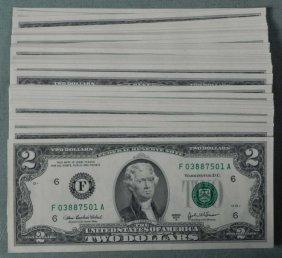 83 Consecutive 2003 US $2 Two Dollar Notes Atlanta Mint