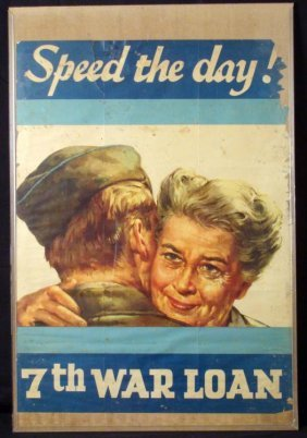 "ORIG WWII US POSTER ""SPEED THE DAY-7TH WAR LOAN""-22X32"""