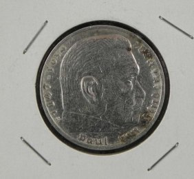 1937 German Nazi Silver Hindenburg 5 Mark Silver Coin