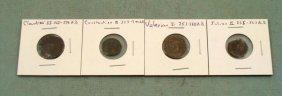 4 Ancient Roman Coins Constantine II Valenian I Julian