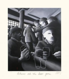 Mackenzie Thorpe 'WHERE'S ALL THE BEER GONE' Lithograph