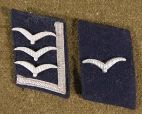 TWO NAZI LUFTWAFFE ORIGINAL COLLAR TABS-OFFICERS W/GULL