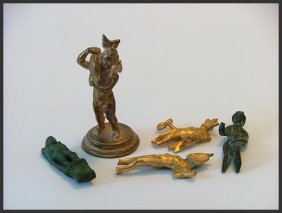 FIVE GILT BRONZE ROMAN GREEK AND MEDIEVAL STATUES+++
