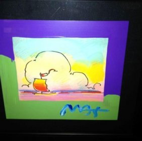 Peter Max Original Painting Over Serigraph -Sailboat