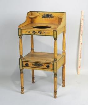 New England Yellow Painted Sheraton Wash Stand