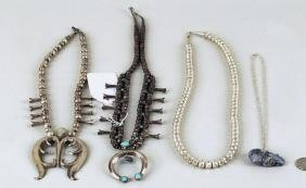 Four Native American Silver Necklaces