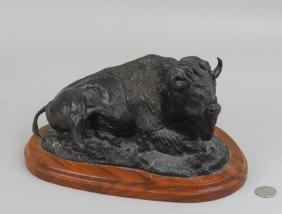 Bronze Recumbent Bison Sculpture