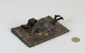 """Franz Bergman """"Boy On A Persian Carpet"""" Bronze"""