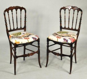 Pair Victorian Rosewood Grained Fancy Chairs
