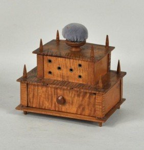 Shaker Tiger Maple Sewing Box, 19th C.