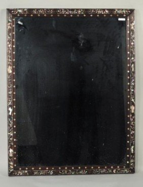 Mother Of Pearl Inlaid Hardwood Mirror