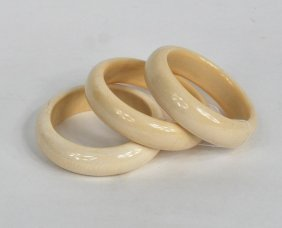 Three Ivory Smooth Bangle Bracelets
