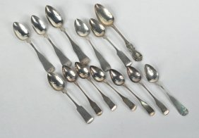 Group Of Thirteen American Coin Silver Spoons