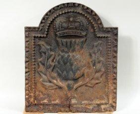 Antique Cast Iron Fireback, Thistle & Crown
