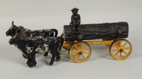 Hubley Cast Iron Two Oxen Logging Toy