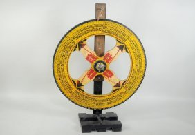 Folk Art Gaming Wheel With Paint Decoration