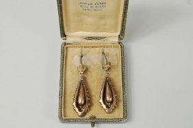 Victorian Gold Earrings, Original Joseph Cohen Box
