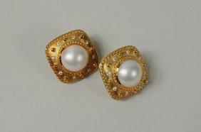Pair 18K Gold Diamond & Mabe Pearl Earrings