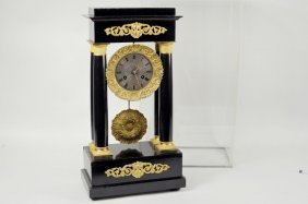 French Ebonized & Gilt Bronze Mantel Clock