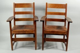 Pair L & JG Stickley Oak Slat Back Armchairs