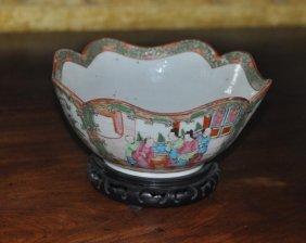 Rose Medallion Porcelain Cut Corner Bowl