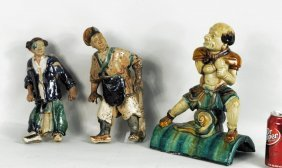 Three Chinese Glazed Pottery Figural Roof Tiles