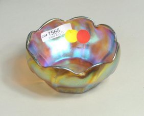 Tiffany Favrile Glass Ribbed Bowl