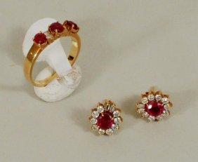 14K Gold/Ruby/Diamond Earrings & 18K Ring