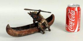 "Carl Kauba ""Indian And Canoe"" Painted Bronze"