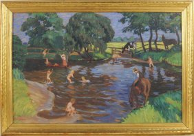 "Wilhelm Heinrich Rohmeyer ""swimming Hole"" O/b"