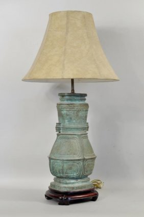 Chinese Bronze Archaic Style Urn Lamp W/shade